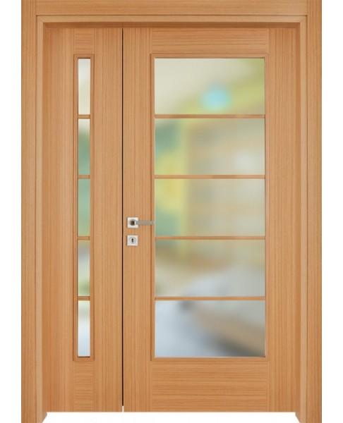 double bloc porte porte vitr e int rieur munich en finition teck. Black Bedroom Furniture Sets. Home Design Ideas