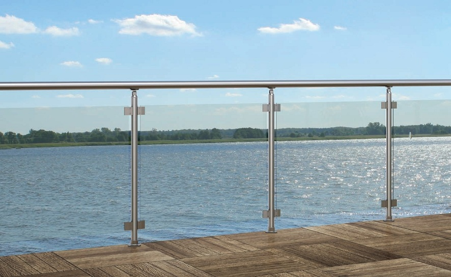 Garde corps piscine panneau de verre feuillet tremp for Garde corps verre securit