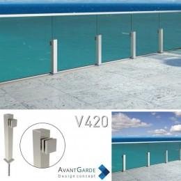 Garde-corps tout verre à profilé aluminium V420