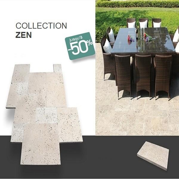 Dalle travertin 60 x 40 cm - ép.3 cm Zen