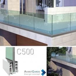 Garde-corps verre et aluminium C500