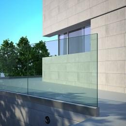 Garde-corps extérieur tout verre à profil aluminium