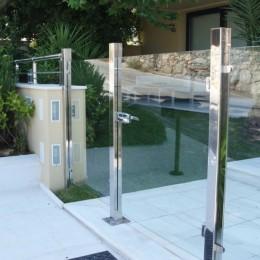 Portillon piscine en verre trempé et inox